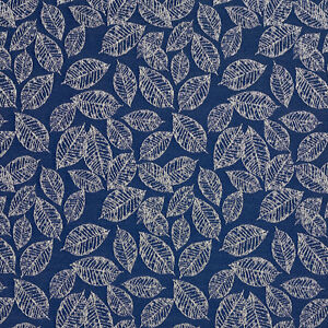 B618 Navy Blue Floral Leaf Jacquard Upholstery Fabric By The Yard