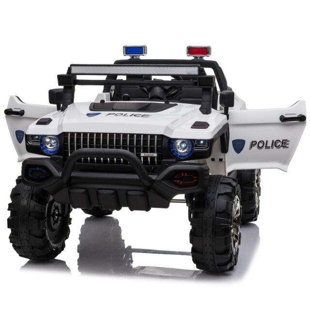 Kids 12V RC 2-Seater Ride-On Police Truck Toy Car MP3 LED Lights White