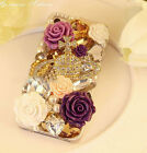 For galaxy Lovely Girly Flowers Crystal Heart Bling Diamonds Gem Hard Case