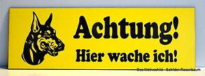 ZuverläSsig Achtung!hier Wache Ich,türschild,dobermann,gravur,15 X 5 Cm,warnschild,hund Verbraucher Zuerst Türschilder