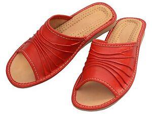 Latschen,Pantoffeln Damen Hausschuhe Größe 36 41 Echtleder dTC3v
