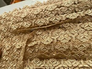 """Vintage 1/2"""" Cluny Rayon Flowers Lace Trim Petite Champagne 1yd Made in USA"""