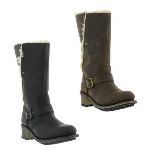 Caterpillar Bnna Womens Black Brown Wide Fit Leather Cat Biker Boots Size 3-8