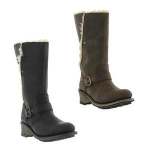 b89253a2b3c Caterpillar Anna Womens Black Brown Wide Fit Leather Cat Biker Boots ...