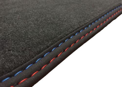 Fußmatten für BMW 7er E38 in Velours Deluxe anthrazit Nubukband Naht M-Optik