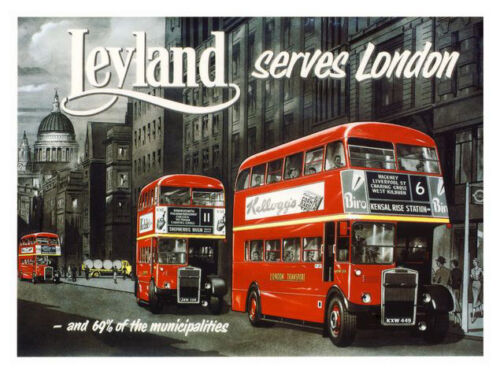 London Buses Leyland British Transport Print Framed And Memo Board Available