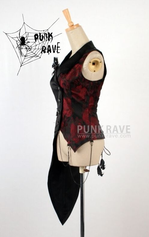 Punk Rave Da Uomo Gilet Panciotto Visual Kei Nero & & Nero Rosso Gotico Steampunk Y-330 5d1d92