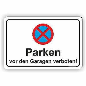 20x30cm parkverbot schild aufkleber parken vor den garagen verboten pv14 ebay. Black Bedroom Furniture Sets. Home Design Ideas