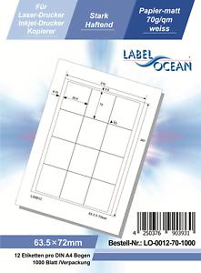 Klebeetiketten DIN A4 weiß 63,5x72mm 1000 Blatt Laser Inkjet Kopierer