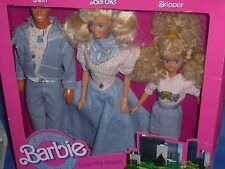 ♥ NRFB rar top vintage 80-er mattel 1989 Denim Fun jeans ken barbie Skipper set