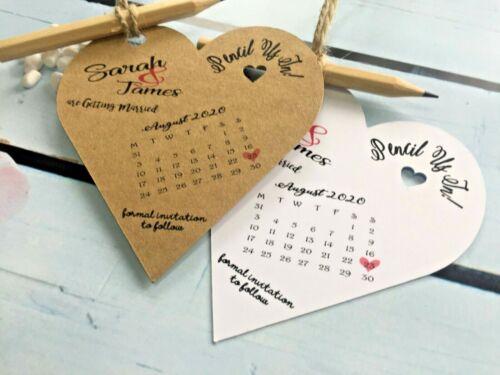 Lápiz nosotros en calendario Save The Date Etiquetas Tarjetas Rústico Con Sobres De Boda PH1
