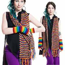Woolen Winter Scarf Colourful Warm Mottled Rainbow Colours Long Hippy Wool Scarf