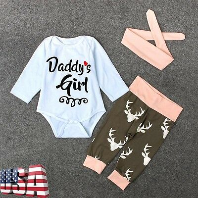 Kids Baby Girl Romper Jumpsuit + Long Pants+Hairband Outfits Tracksuit Clothing