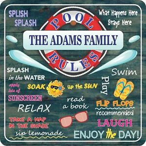 Details about Personalized Pool Rules Sign Funny Swimming Pool Signs Summer  Outdoor Decoration