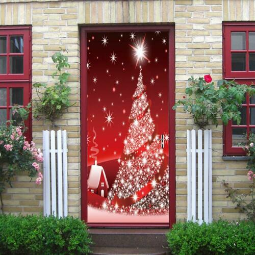 Red Christmas Tree Door Sticker Self Adhesive Waterproof Wall Decals Xmas Decor
