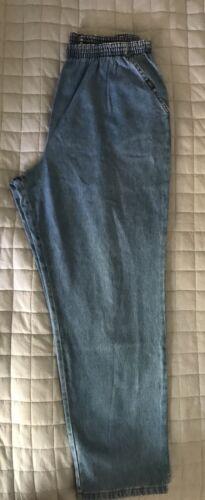 Chic Elastic Waist Pull On Straight Leg Denim Jeans Sz 18 Average  Vtg