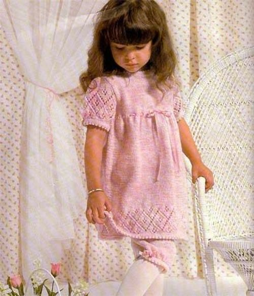 Girls-Dress and Bloomers knitting pattern in DK wool- Gorgeous pattern
