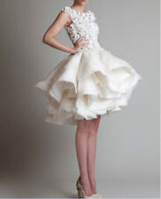 Vintage New Tea Length White/Ivory Lace Wedding Dress Custom All Size
