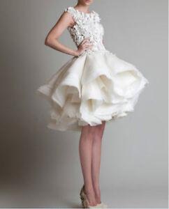 Vintage-New-Tea-Length-White-Ivory-Lace-Wedding-Dress-Custom-All-Size