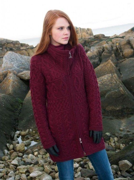 INIS CRAFTS IRISH 100% MERINO WOOL HIGH COLLAR LONG BURGUNDY SWEATER COAT M,L