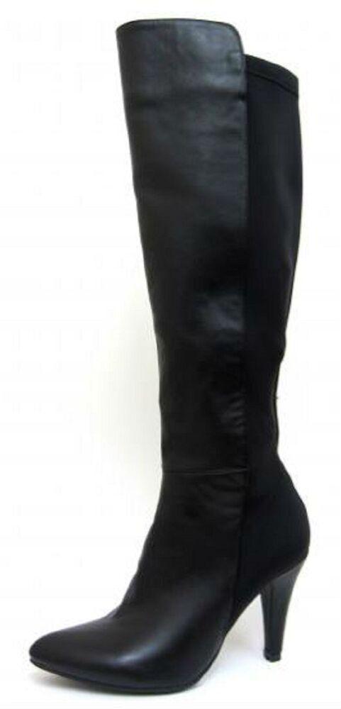 En Herbe Spot On F50335 Femmes Synthétique Noir Et Lycra Et Talon Aiguille Bottes Hautes