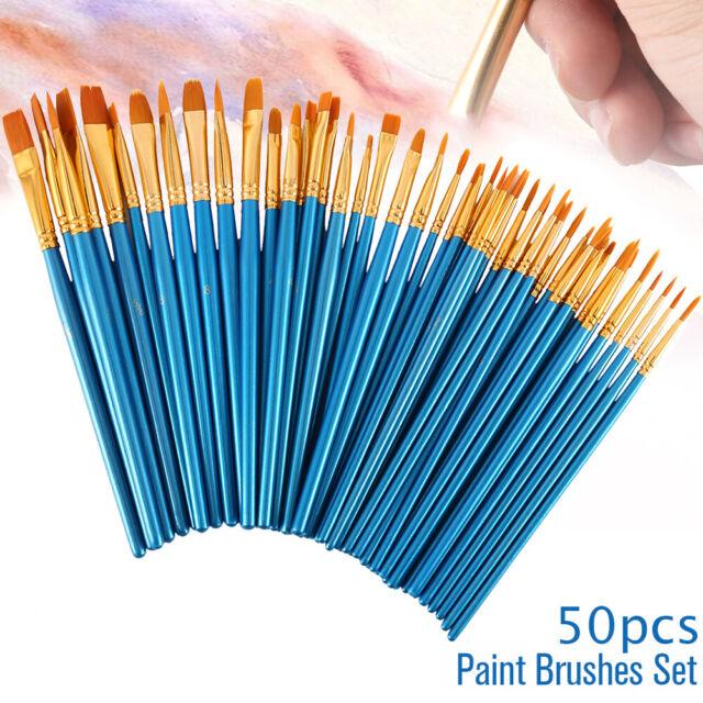 50X Artist Paint Brushes Set Acrylic Oil Watercolor Painting Craft Art Model Kit