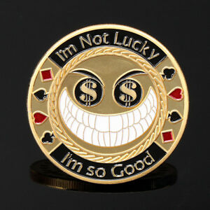 Gold Lucky Casion Texas Poker Guard Card Protector Coin Chip Gold Plated w/ Case
