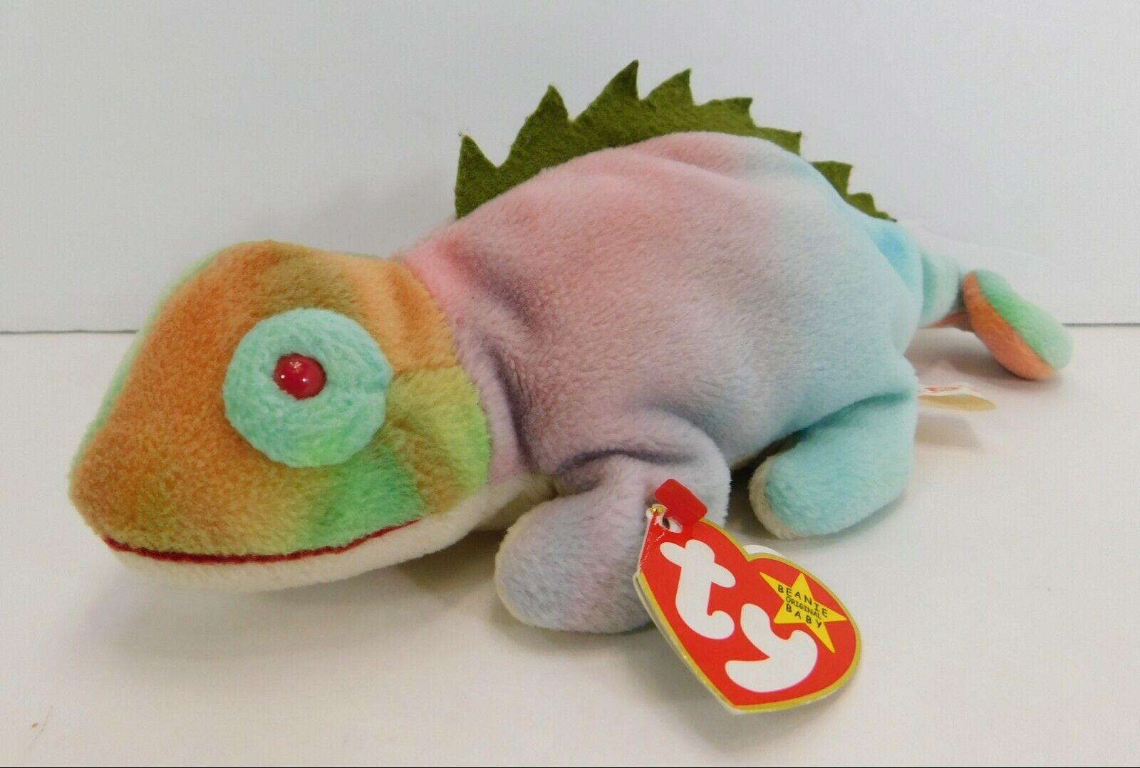 RARE Beanie Babies TY Iguana Iggy COLOR ERROR Rainbow Red Eyes PVC Pellets 1997