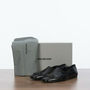 BALENCIAGA-695-Cosy-BB-Loafer-In-Black-Croc-Embossed-Leather