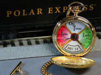 Lionel Polar Express Conductor Pocket Watch Boxed Train Present Clock 9-41027