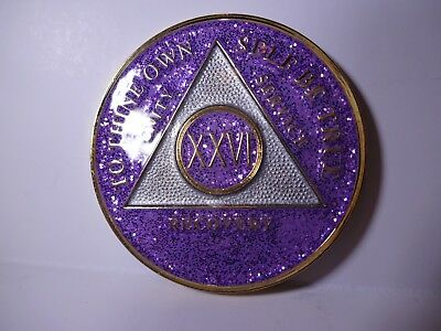 Display AA Purple Glitter 5 Year Coin Tri-Plate Alcoholics Anonymous Medallion