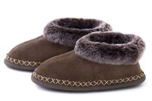 Women-039-s-Genuine-Sheepskin-Slippers-Ladies-Leather-Mules-Boots-Fur-Wool-Hard-Sole