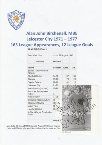 ALAN BIRCHENALL LEICESTER CITY 19711977 ORIGINAL HAND SIGNED BOOK CUTTING