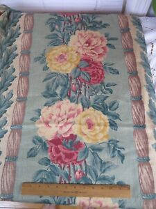 """Pretty Vintage 1940s Cabbage Roses On Turquoise Linen Curtain Panel~L-68""""X W-44"""""""