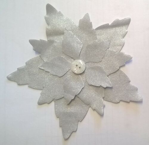 Create a Poinsettia SILVER flowers fabric Pack remnants patchwork set of 5