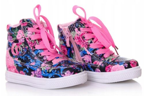 Floral Girls shoes high HI TOP ankle trainers size 8.5UK Infant KIDS Flowers