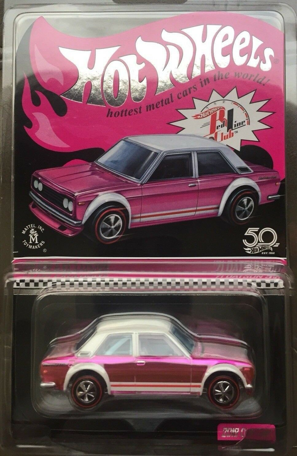 1 64 2018 Hot Wheels 18th Nationals Convention '71 Datsun 510 RLC pink party car