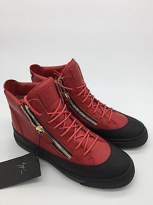 Giuseppe Zanotti Zip Leather High-Top Sneaker, Red/Black Size 8