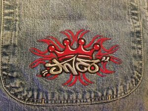 Vintage-Jnco-Tribal-Men-039-s-Jeans-34w-X-32L-Large-Pockets-red-Crown-Logo-rare
