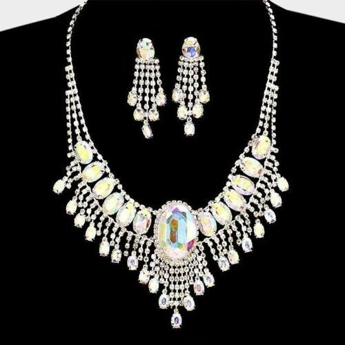 Statement Prom Necklace Formal Rhinestone Crystal Bridal Pierced Earrings Silver