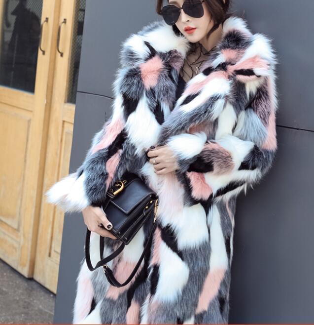 Womens Real Fur Winter Christmas Fur Long Sleeve Parka Long Overcoat Parka