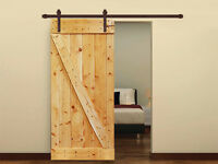 Plank Knotty Solid Core Interior Painted Wood Door With Sliding Hardware Track
