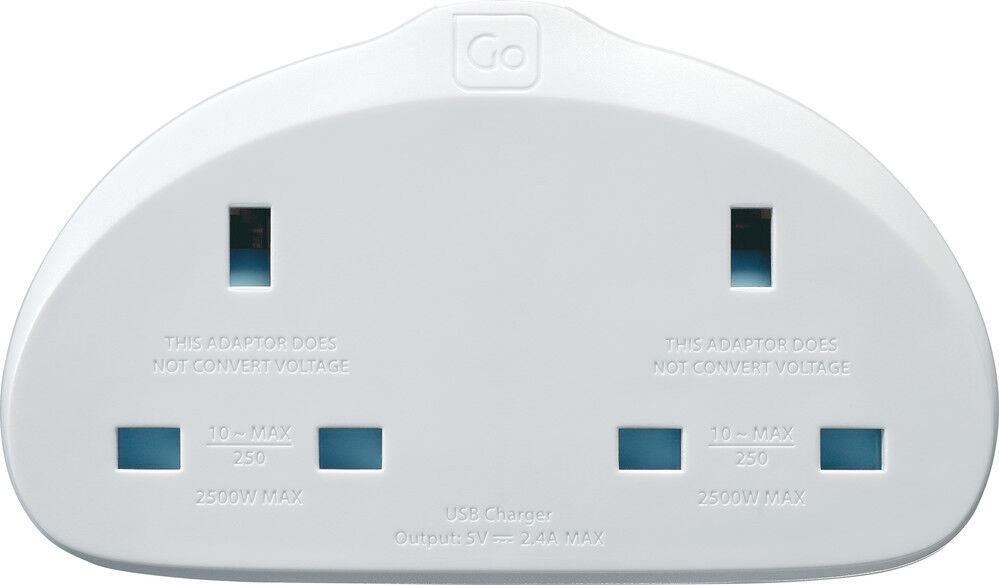 Go Travel terre UK to European CONVERTER-USB Adaptateur UE-Twin CONVERTER-USB European (adaptateur ref 629) df8d3e