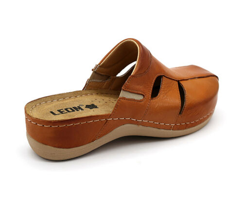 LEON 925 Ladies Women Leather Slip On Mules Clogs Slippers Sandals Brown New UK