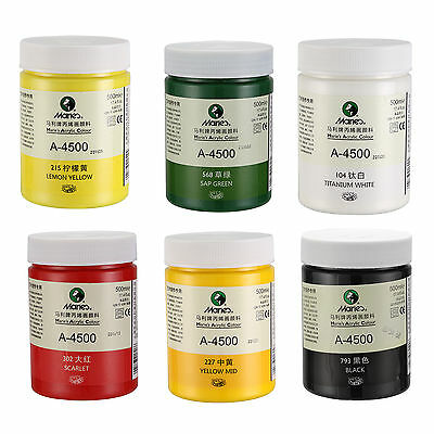 Artist Acrylic Paint 500ml Tube Craft 500ml-6 Colors Choose