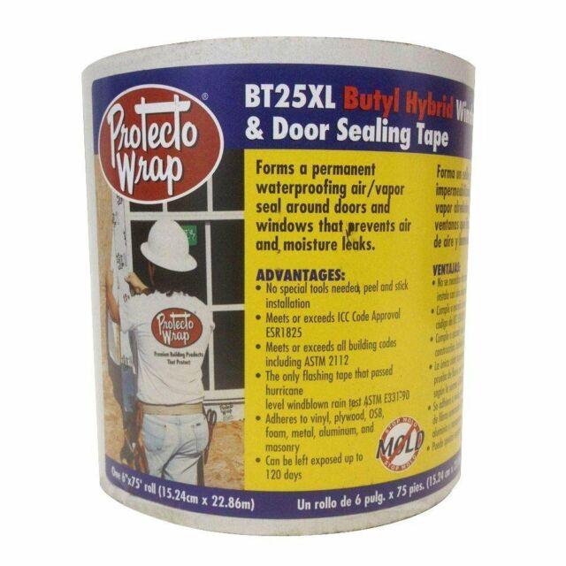 Protecto Wrap BT25XL Window & Door Sealing Tape Roll Size 6 in. x 50 Ft.