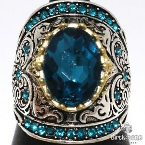 Antique-5-Ct-Oval-Aquamarine-Ring-Women-Anniversary-Jewelry-White-Gold-Plated