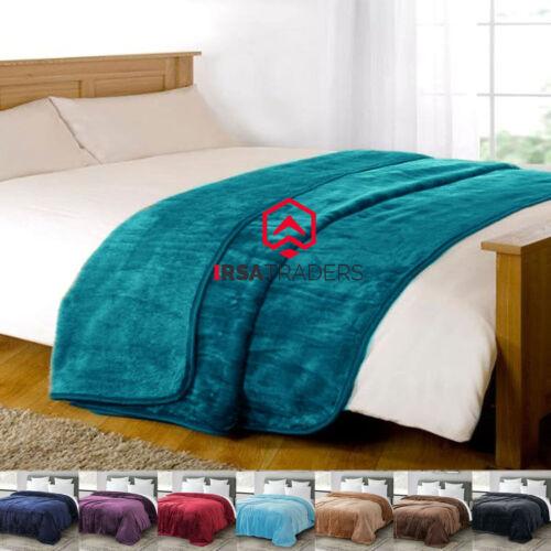 New Fleece Blanket Large Sofa Throw Soft Warm Faux Fur Mink Double /& King Size