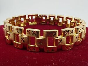 Men-Jewellery-18ct-Yellow-gold-Solid-Wide-12mm-Watch-band-Women-bracelet-8-inch
