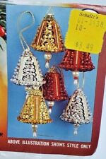 Walco MINI SEQUIN BELLS MAKES 6 Vtg Sequin Bead Christmas Ornament Craft Kit